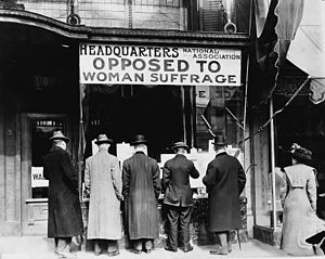 Anti-suffragism - Anti-suffragists in the US in 1911.
