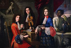 Anton Domenico Gabbiani - Three musicians and servant with parrot.