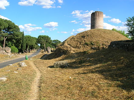 The Mausoleum of the Curiazi has been dated to between the end of the Republic and the beginning of the Empire Appia antica 2-7-05 036.jpg