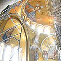 Apse mosaic with the Virgin Nikopoia, Christ Pantokrator and the Wight angle at the tomb, Saint Sava.jpg