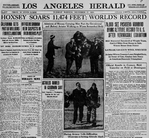 Archibald Hoxsey - Front page of Los Angeles Herald on December 27, 1910, after Hoxsey set airplane altitude record. He died three days later.