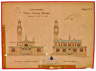 Gympie Court House - Architectural drawing showing the front and side elevations, 1900