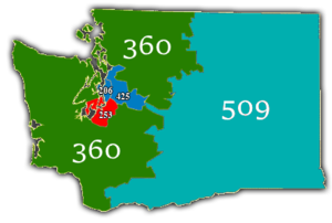 Area code 253 - Map of Washington's area codes. Area codes highlighted in red is the location of the area code.