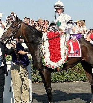 "Arlington Million Trophy - Each year a garland of ""Million Dollar Flowers"" are draped around the winner."