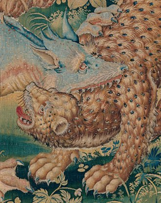 Jagiellonian tapestries - Verdure Dragon fighting with a panther (detail), design by the circle of Pieter Coecke van Aelst.