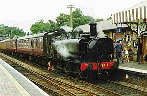 GWR 6400 Class - 6400 Class No. 6412 arrives at Sheringham, North Norfolk Railway, August 1999
