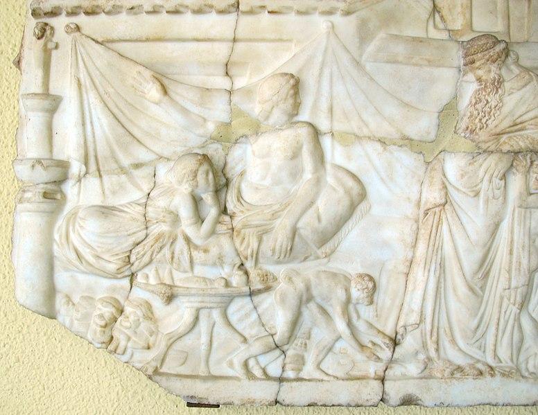 File:Arte romana, dioniso che visita l'attore ateniese ikarios, da efeso 02.JPG