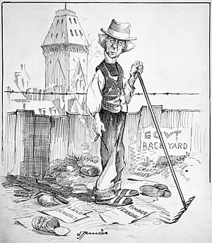 """Sam Hunter (cartoonist) - """"As the snow of concealment disappears"""", The Toronto World,  26 March 1908."""