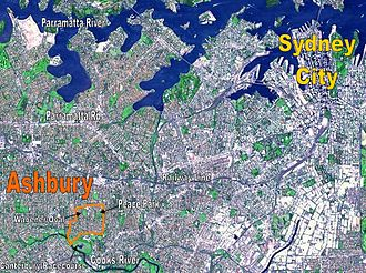 Ashbury, New South Wales -  NASA image of Sydney's CBD and inner west suburbs, with borders of Ashbury shown in orange