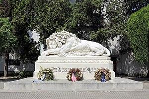 """Donaustadt - The """"Asperner Lion"""" (Asperner Löwe) in memory of the battle at Aspern 1809."""