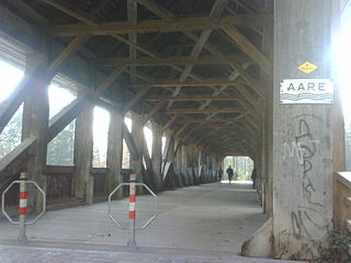 Auguetbrücke covered wooden bridge in canton Bern, Switzerland