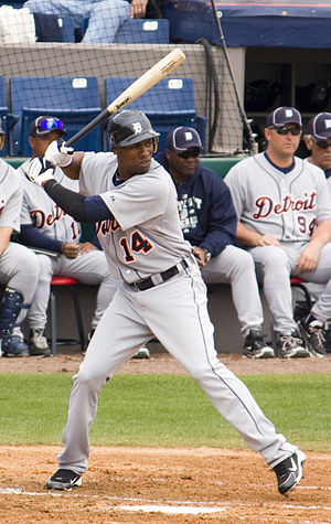 Austin Jackson - Jackson batting for the Detroit Tigers in 2010 spring training