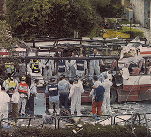 Hamas - The aftermath of a bus bombing in Haifa in 2003.