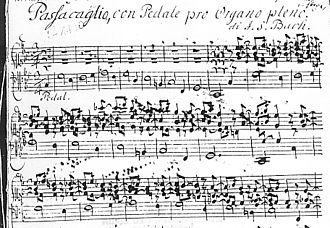 Passacaglia - The first page of a manuscript of the Passacaglia and Fugue in C minor, BWV 582, by Johann Sebastian Bach
