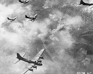 Schweinfurt–Regensburg mission - Image: B 17F formation over Schweinfurt, Germany, August 17, 1943
