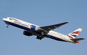Powered aircraft - A jet-engined Boeing 777 taking off