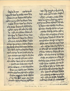 Babylonian vocalization - A verse-by-verse interlinear Hebrew-Aramaic text of Deuteronomy 14:4-19 with Babylonian vocalization from the Cairo Geniza
