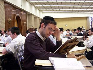 Yeshivas Ner Yisroel - A student studying inside the Bais Medrash