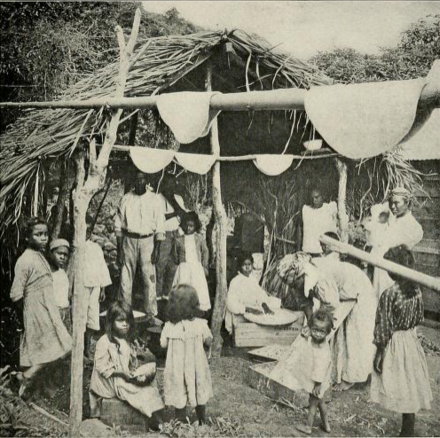 Residents of Saint Vincent making casabe (casava bread) in the 1910s Baking bread in the West Indies.png