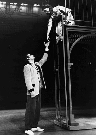 Carol Lawrence - Larry Kert and Carol Lawrence in the balcony scene of West Side Story, original Broadway cast (1957)