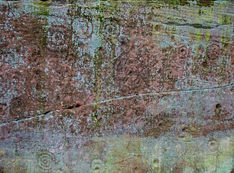 Ballochmyle cup and ring marks - Image: Ballochmyle Cup and Ring marked stone 1