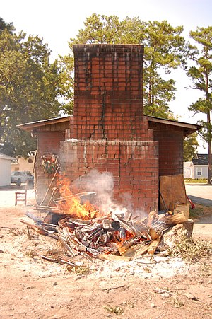Cuisine of the Southern United States - A wood-fired barbecue pit at Wilbur's Barbecue - Goldsboro, North Carolina