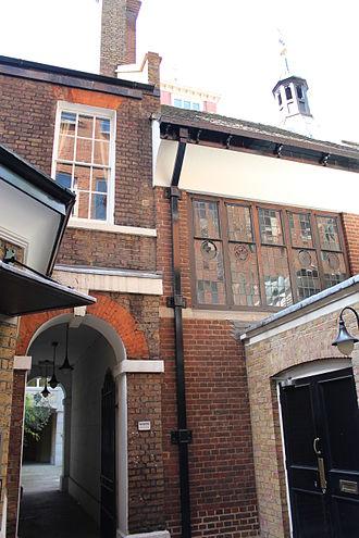 Barnard's Inn - Barnard's Inn Hall, as viewed from outside of the entrance to the Gresham College offices