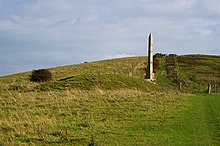 Barrow, obelisk and bridleway, Ballard Down, Purbeck - geograph.org.uk - 262320.jpg