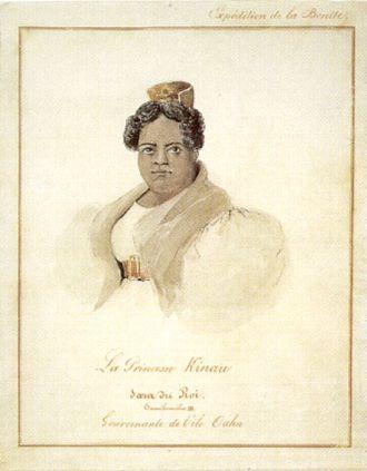 Kīnaʻu - Image: Barthélémy Lauvergne 'Princess Kinau', watercolor and ink wash over graphite, 1836, Honolulu Academy of Arts