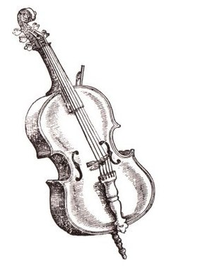 "Bass violin - A woodcut of an early bass violin (""Bas-Geig de bracio"") from Michael Praetorius' Syntagma musicum, 1619. This instrument is somewhat unusual in that it had five strings."
