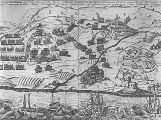 Third English Civil War - A contemporary print of the battle of Dunbar, 1650