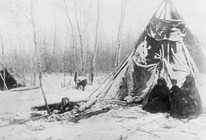 Peace River Country - Dane-zaa (Beaver) tipi in winter near the Peace River, Alberta, 1899