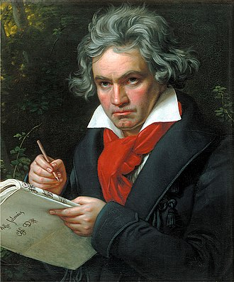 Symphony No. 9 (Beethoven) - Portrait of Ludwig van Beethoven in 1820. Beethoven was almost totally deaf when he composed his Ninth Symphony.