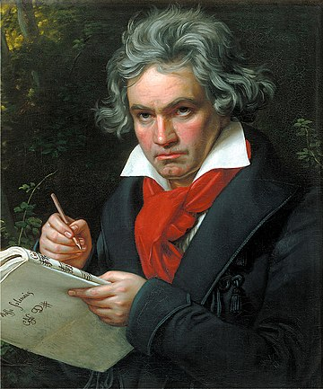 Ludwig van Beethoven, composed many Masses and religious works, including his Ninth Symphony Ode to Joy. Beethoven.jpg