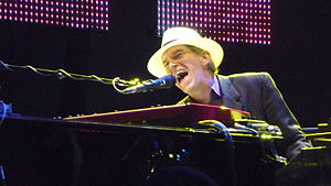 Tom Petty and the Heartbreakers - Keyboardist Benmont Tench performs with the band at the Hollywood Bowl in 2010.