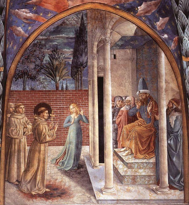 Francesco d'Assisi e il sultano al-Kamil (affresco di Benozzo Gozzoli) dans immagini sacre 800px-Benozzo_Gozzoli_-_Scenes_from_the_Life_of_St_Francis_%28Scene_10%2C_north_wall%29_-_WGA10241