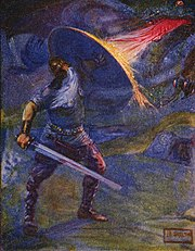 A 1908 depiction of Beowulf fighting the unnamed dragon by J. R. Skelton.
