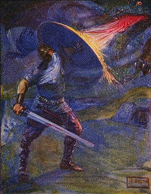 The Dragon (Beowulf) - Beowulf battles his nemesis, the dragon, shown in an 1908 illustration by J. R. Skelton.