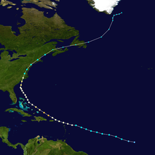 Track map of hurricane across the western Atlantic Ocean. Its path forms the shape of a C.