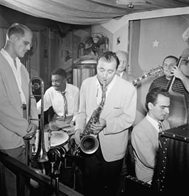 Bill Harris, Denzil Best, Flip Phillips, Billy Bauer, Lennie Tristano, Chubby Jackson, ca. september 1947. Foto van William P. Gottlieb.