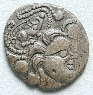 Baiocasses - A stater of the Baiocasses depicting a human profile with a boar set within whirls of pattern that extend from the stylized hair. The Celtic war locks are clearly represented and could justify the etymology Bodio-cassi