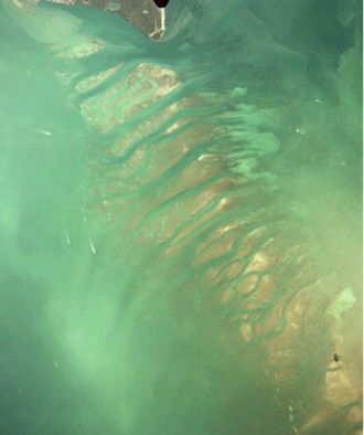 Biscayne Bay - Aerial view of the Safety Valve from southern end of Key Biscayne (top) to Soldier Key