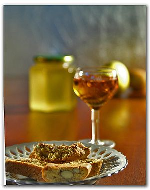 The Italian wine Vin Santo with its traditiona...