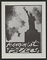 "Black and white painting; silhouette of Statue of Liberty holding the Venus symbol; caption says ""Feminist Party"".jpg"
