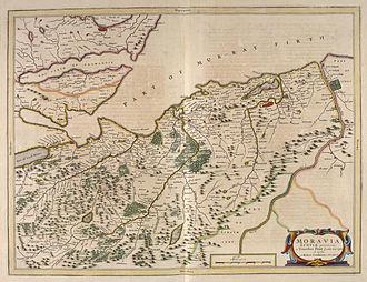County of Moray -  Moravia in Blaeu's 1654 Atlas of Scotland
