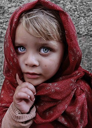 Blond child with blue eyes