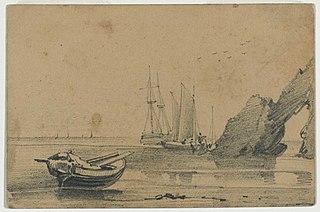 [Boats at low tide by a pierced rock 185-?]