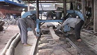 Bandsaw - Horizontal bandsaw resawing planks at a boatyard in Hoi An, Vietnam
