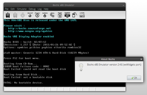 "Bochs 2.4.6 with its ""wx"" graphical interface (wx display library) on Debian 7 Linux"