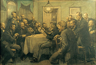 Erik Henningsen - A meeting at Bogstaveligheden on 1 March 1882, drawing by Henningsen from 1910